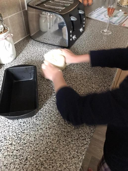 AL kneading the dough