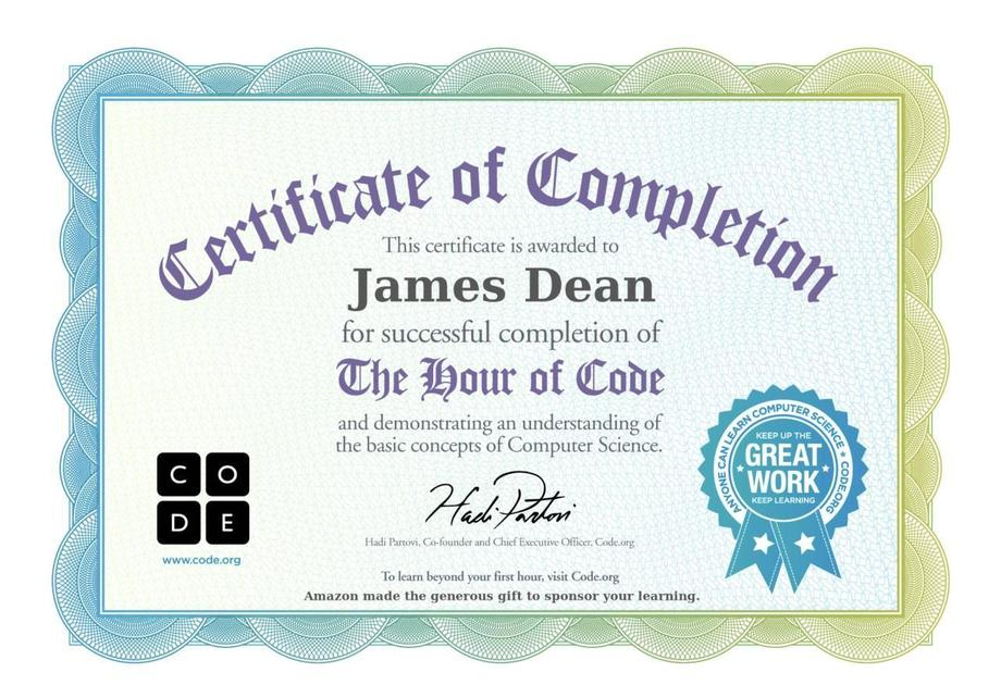 Hour of Code certificate achieved by JD
