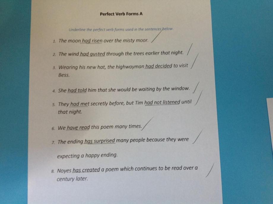 EB perfect form English work