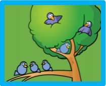 How many birds in the tree? How many birds on the branch? How many altogether?