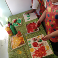 Vegetable printing exploring colours and texture.