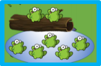 How many frogs on the log? How many frogs in the pond? How many altogether?