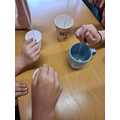 Testing which cup was the best thermal insulator.