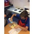 Seasoning scrambled eggs!
