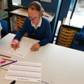 Working hard using a number line in maths