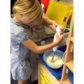 Mixing ice cream ingredients!