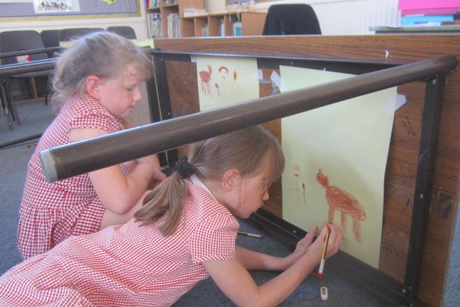 Year 3s also drew their own parietal art (cave paintings)