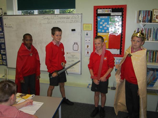 Year 6 role played events from the Battle of Bosworth while learning about the Tudors