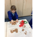 The gingerbread play dough was smelling delicious!