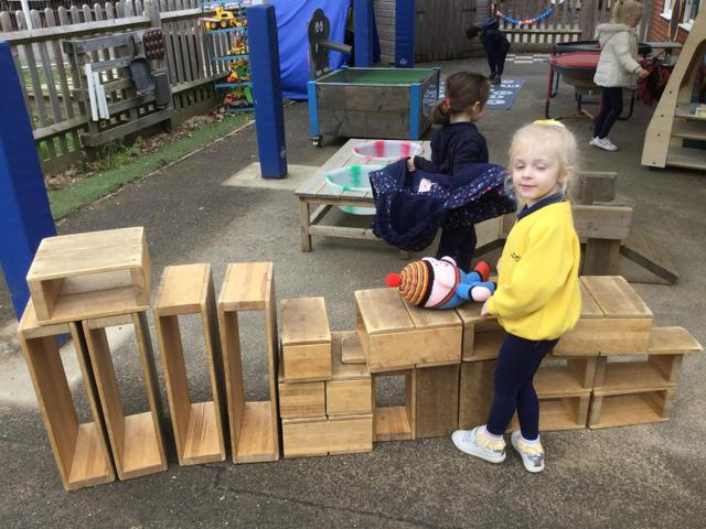 We worked together to make walls for Humpty Dumpy