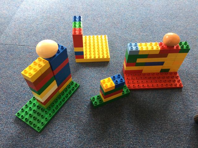 We made walls for Humpty with Duplo