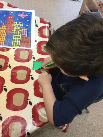We created James Rizzi buildings and windows