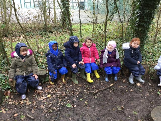 We listened carefully in the log circle.