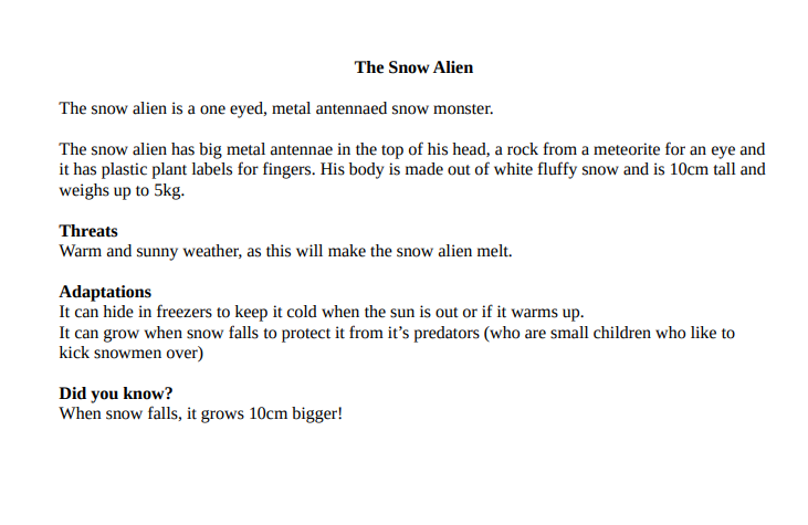 The Snow alien by Caitlin