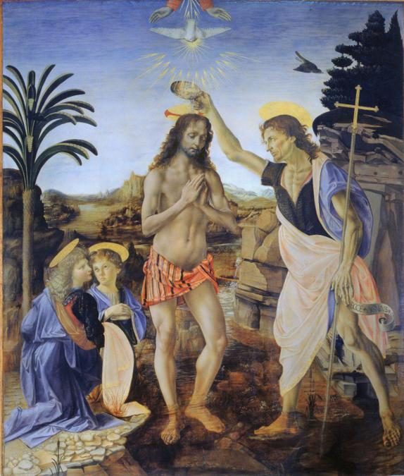 Traditional painting of Baptism of Christ