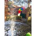 Rainbow balloons and snow!