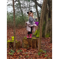 Nancy exploring in the forest