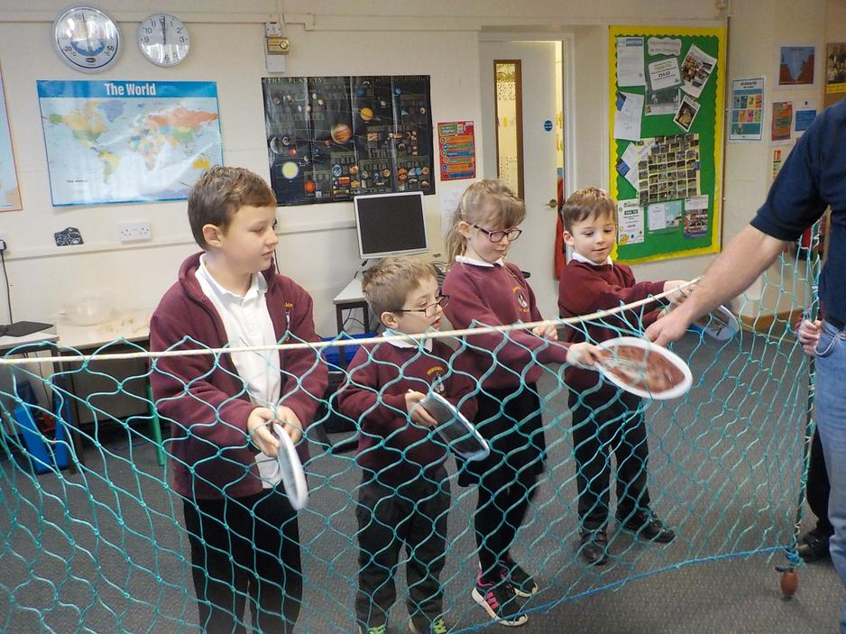 Fishing nets, catching suitable sized fish.