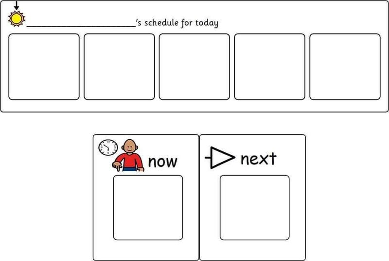 Example of first/then or now/next board