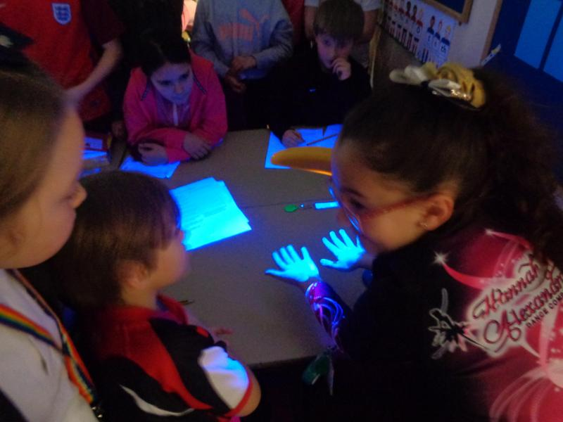 We used hand gel and a uv lamp to check