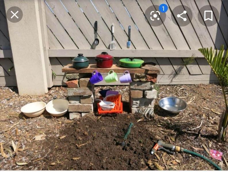 Easy mud kitchen.