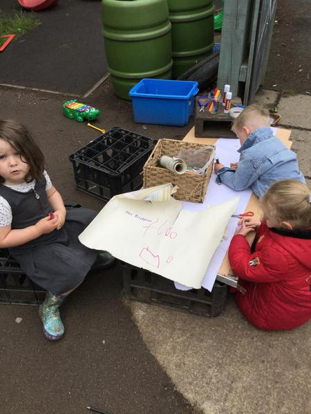 Writing messages for the three bears