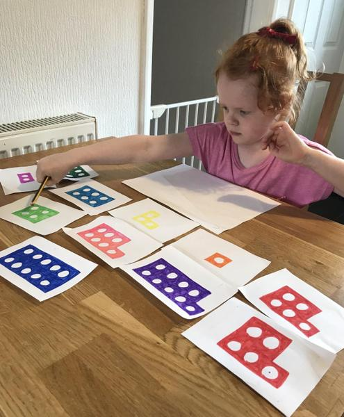 Learning number bonds to 10 using homemade Numicon