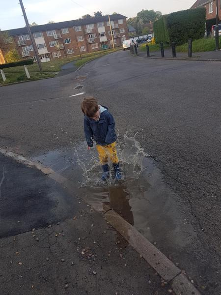 Jumping in puddles!