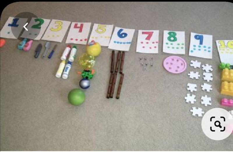 Number line with found objects