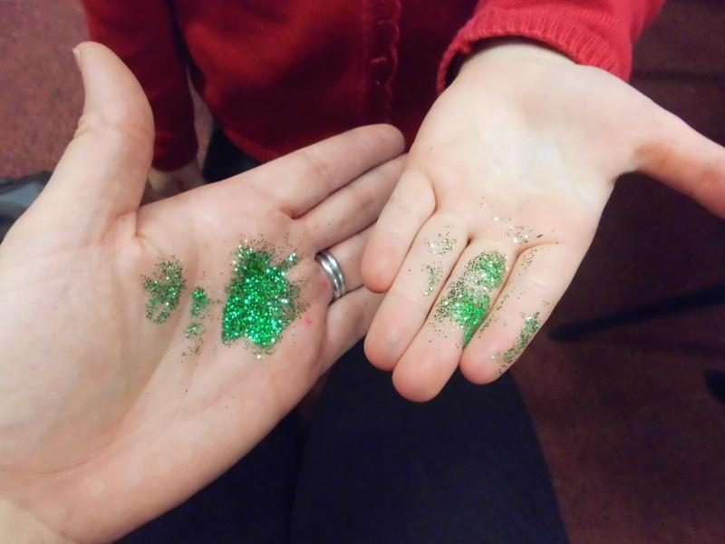 Green glitter to represent germs spreading