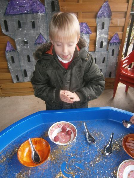 Making playdough dumplings