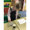 We tested different food stuffs to see if they made a solution or a suspension.