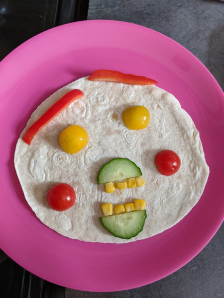 I made my own healthy lunch, can you see the face?
