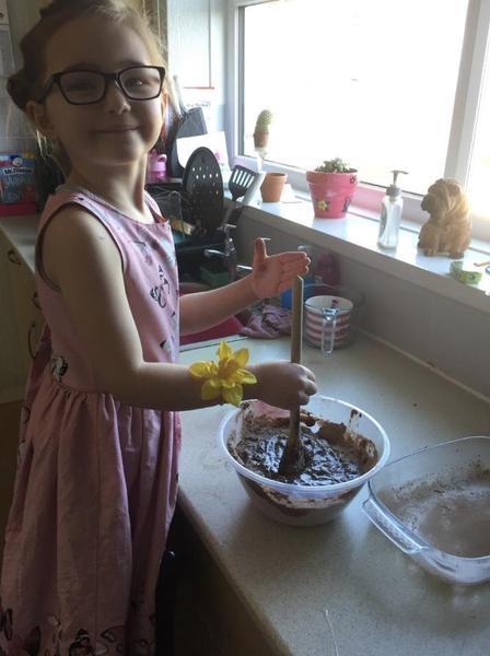 Cooking chocolate brownies!