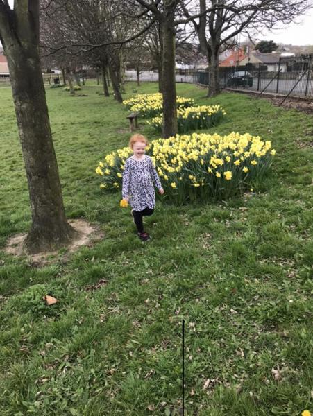 Enjoying looking for signs of Spring on a walk
