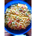 Making mega pasta salads!