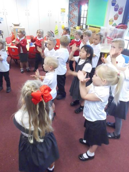 Both classes joining in with Baby Shark!