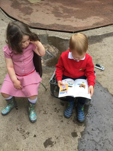 Reading to a friend
