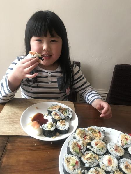 Making delicious sushi. Mmm!