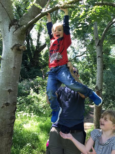 Climbing trees.