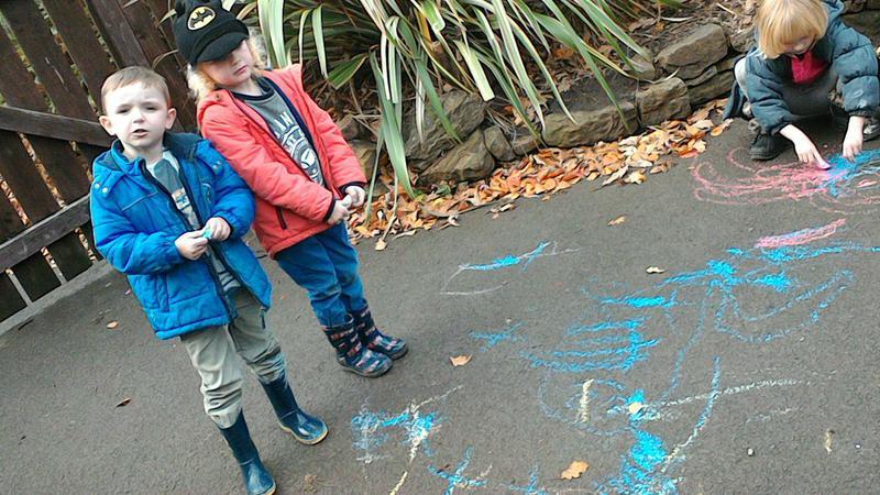 A chalk dinosaur boat!