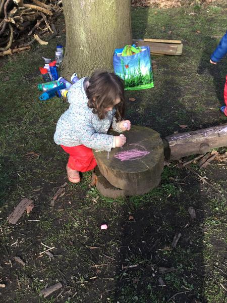 Chalking on a log