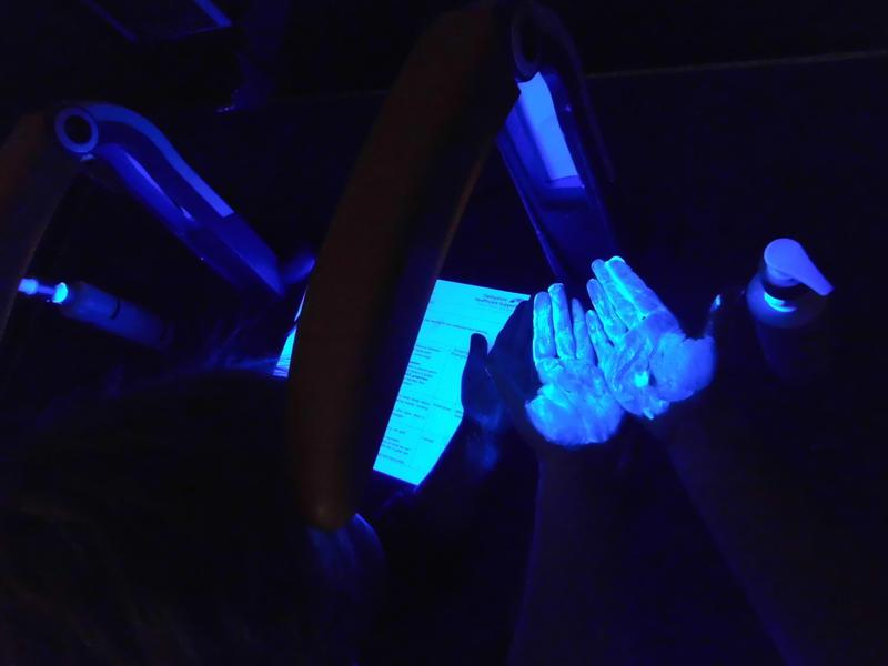 Checking for 'germs' under the UV light
