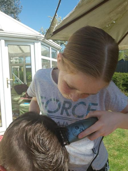 During hair cut