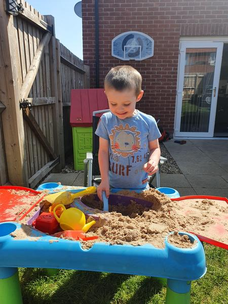 Playing in my sandpit.