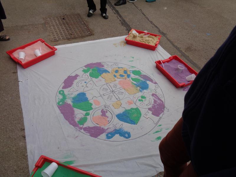 We created a giant Rangoli to welcome others.