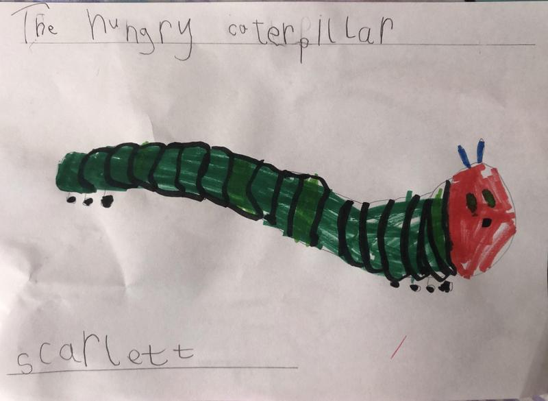 Super drawing and writing about The Hungry Caterpillar 🐛