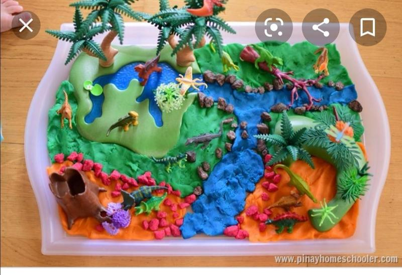 Dinosaurs and play dough