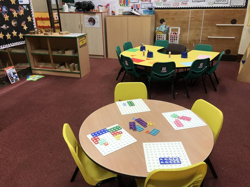 Maths, construction and writing areas
