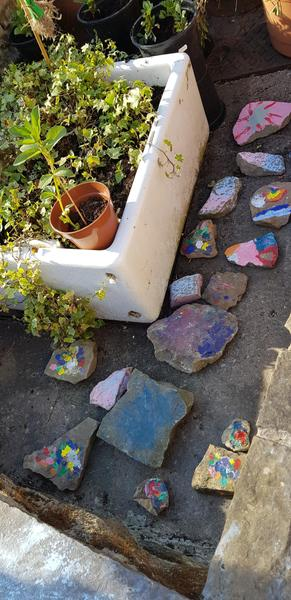 Making a pretty rock garden.